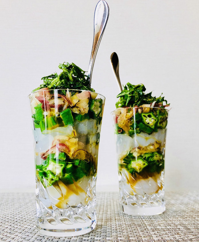 デザートこんにゃくと初夏野菜のミルフィーユパフェ